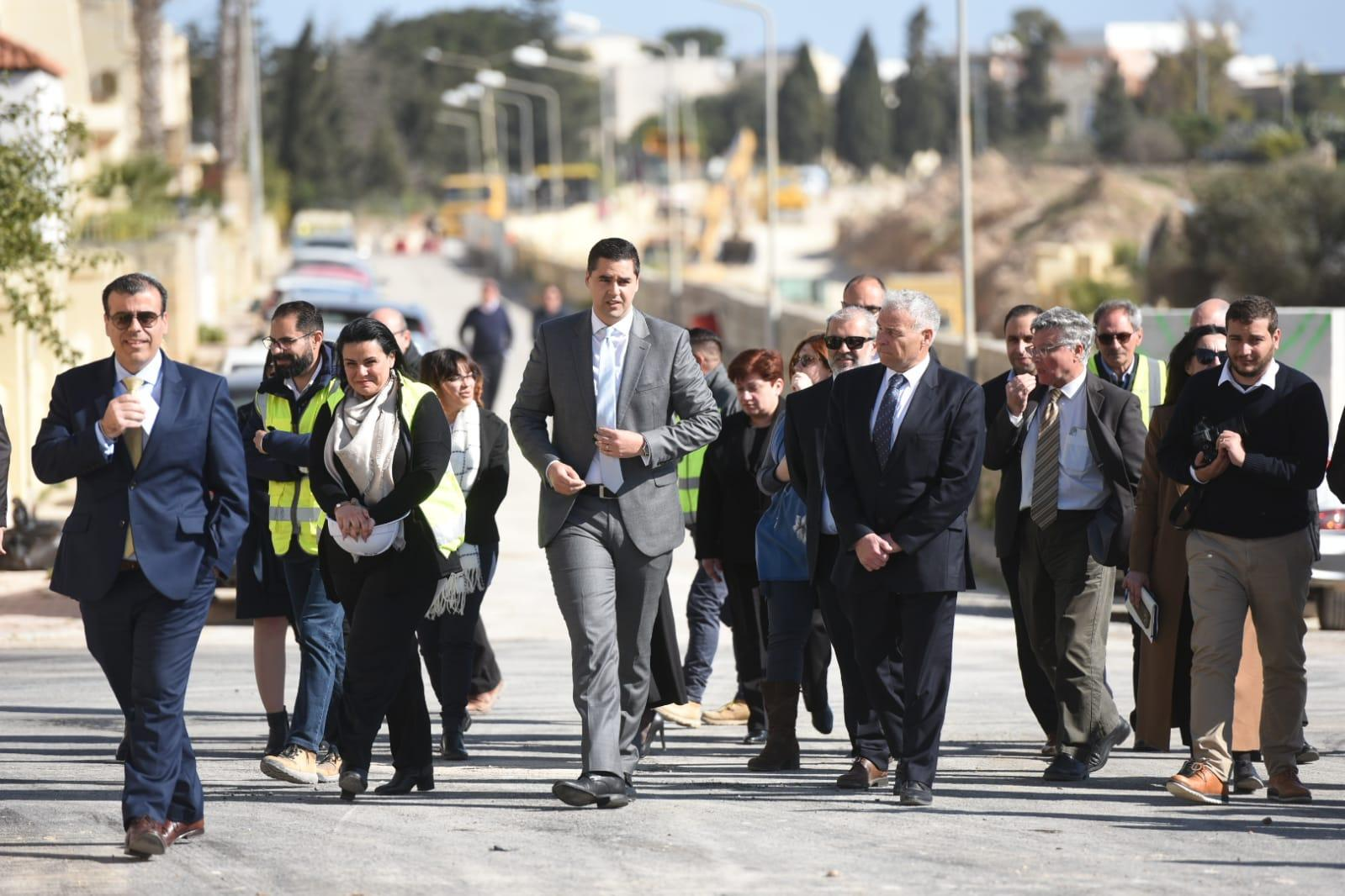 Infrastructure Malta boss Frederick Azzopardi (far left) and Infrastructure Minister Ian Borg (centre) lead a group during a press conference to announce the court decision. Photo: Chris Sant Fournier