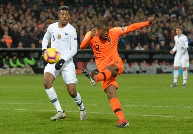 Netherlands' Georginio Wijnaldum shoots at goal.