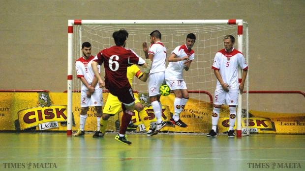 An Andorran player shoots a free kick to score a goal at the Corradino sports complex on January 15. Malta lost 4-0. Photo: Mark Zammit Cordina