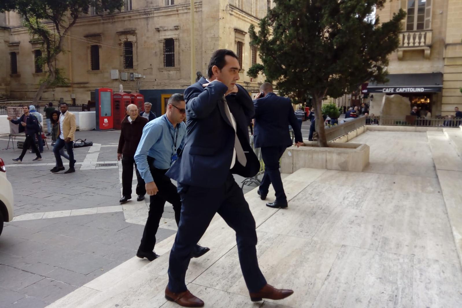 Melvin Theuma walks into court. Photo: Matthew Xuereb