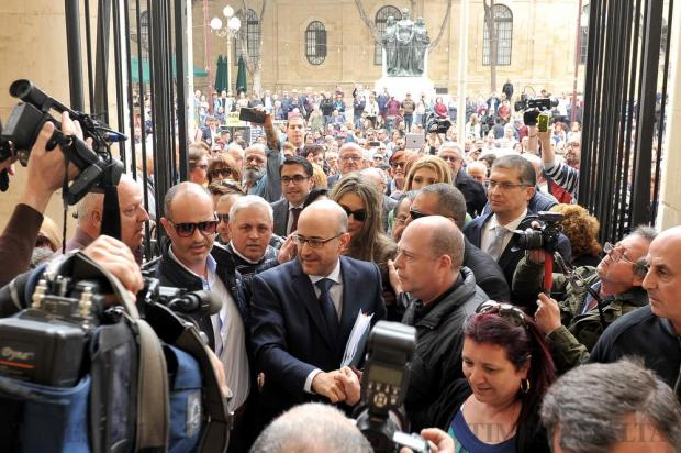 Shadow Minister Jason Azzopardi greets his supporters outside the courts on April 6. Photo: Chris Sant Fournier