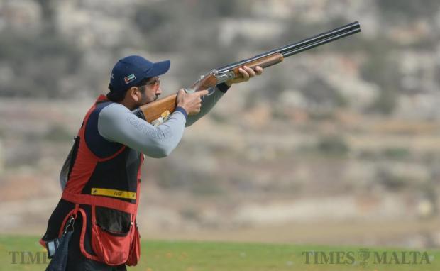 United Arab Emirates two-time ISSF World Cup medalist skeet shooter Saif Bin Futtais takes aim at the 2016 Malta International Grand Prix at Bidnija range on May 10. Photo: Matthew Mirabelli
