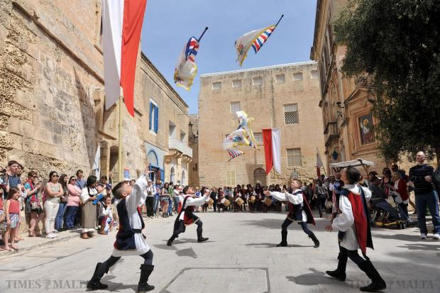 Children perform with flags at the Medieval Fest in Mdina on April 18. Photo: Chris Sant Fournier