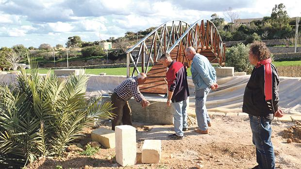 Volunteers working on the new bridge at Bethlehem f'Għajnsielem. Photos: Charles Spiteri