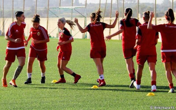 Birkirkara players train ahead of today's Champions League opener against Zhytlobud-1 Kharkiv.