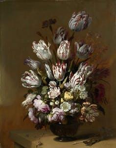 Patterned petals were very valuable. Hans Bollongier, 'Floral still life', 1639 (Rijksmuseum)