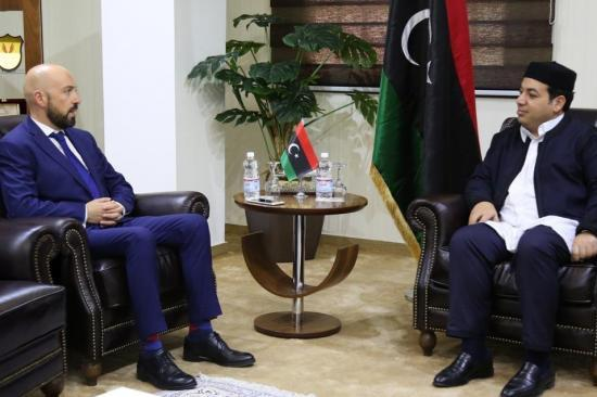Neville Gafà with Libya's vice-president of the Presidential Council Ahmed Omar Mʿytyq.