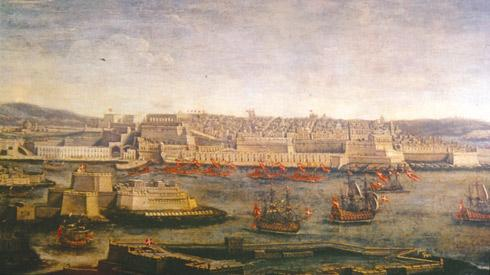 An anonymous 18th century painting of the Grand Harbour showing Fort St Angelo on the left and Barriera Wharf in the centre, with Valletta behind it.