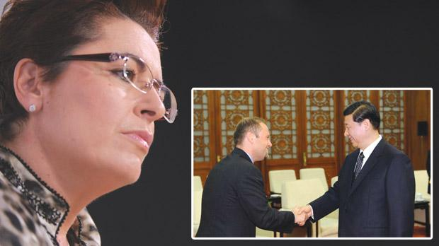 Nationalist MP Claudette Buttigieg pressed Joseph Muscat on his 2010 meeting with Chinese Vice-President Xi Jinping in Beijing (inset). Photos: Jason Borg/ Xinhua
