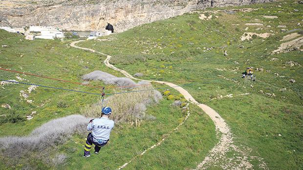 Activities included zip-lining above the Gozitan landscape.