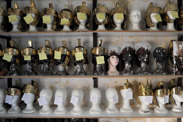 Roman helmets wait to be picked up by participants of the Zebbug Good Friday procession on March 26. Photo: Chris Sant Fournier