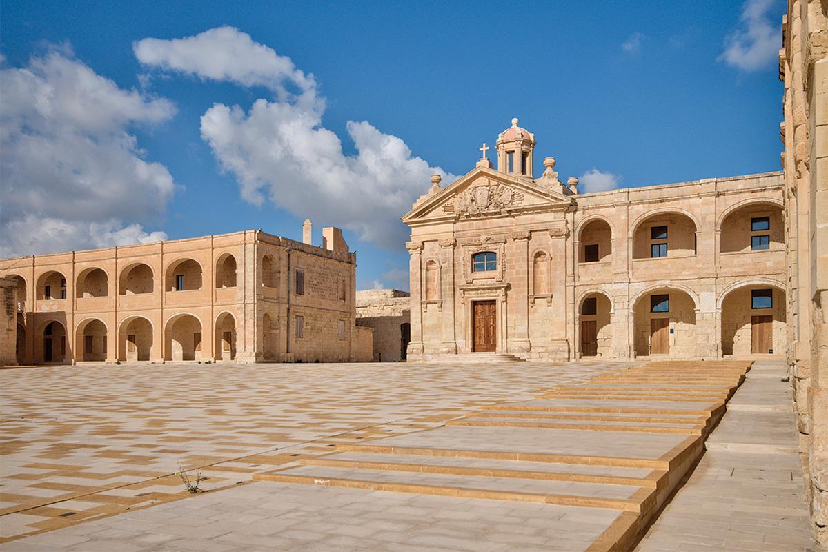 Restored parade grounds at Fort Manoel