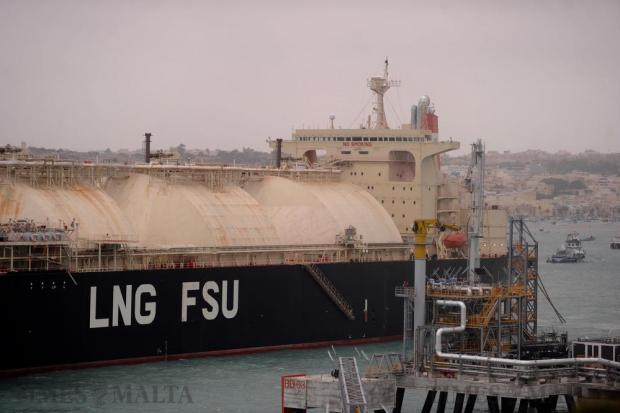 The controversial LNG tanker Armada Mediterrana in Marsaxlokk Bay during the heavy storm on October 30. Photo: Steve Zammit Lupi