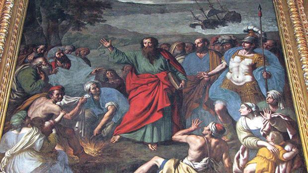 St Paul's Shipwreck in Malta, a painting by Stefano Erardi at St Paul's parish church, Rabat.