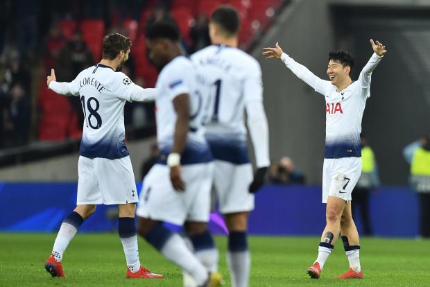 Tottenham's Fernando Llorente (Left) celebrates his goal with Hueng-Min Son.
