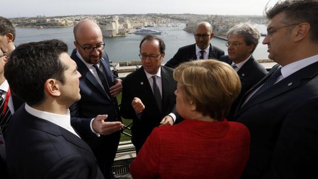 EU leaders at the Barrakka Gardens yesterday.