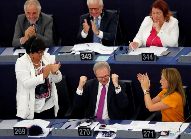 MEPs celebrate approval of the motion.