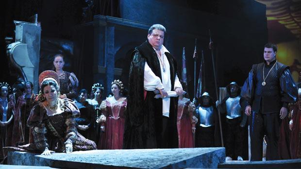 Soprano Miriam Cauchi as Desdemona and tenor Badri Maisuradze as Otello with Maltese tenor Cliff Zammit Stevens as Cassio (right) in Otello.Photo: Joe Attard