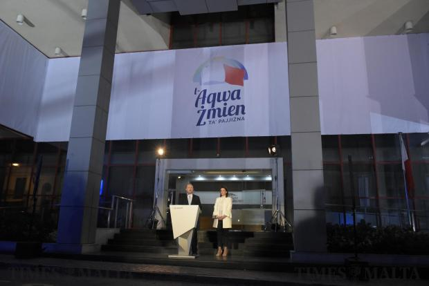 Prime Minister Joseph Muscat and his wife Michelle launch the Labour Party election campaign at the Labour Party headquarters in Hamrun on May 1. Photo: Mark Zammit Cordina
