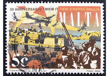 Maltese stamp dedicated to 50th anniversary end of World War II, circa 1995. Photo: Neftali/Shutterstock.com