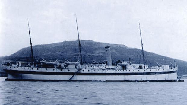Hospital ship Maine, which took care of the Kelly's survivors, among them Joe Micallef, at Alexandria, Egypt.