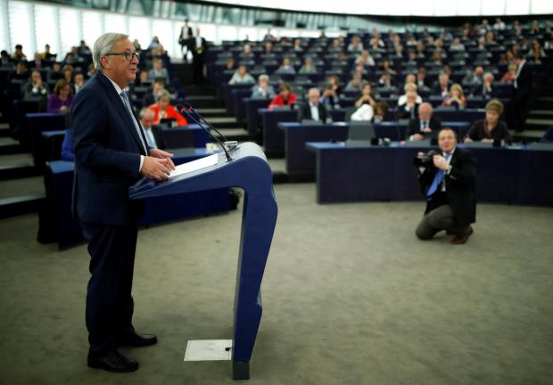 Mr Juncker giving his speech to MEPs. Photo: Reuters