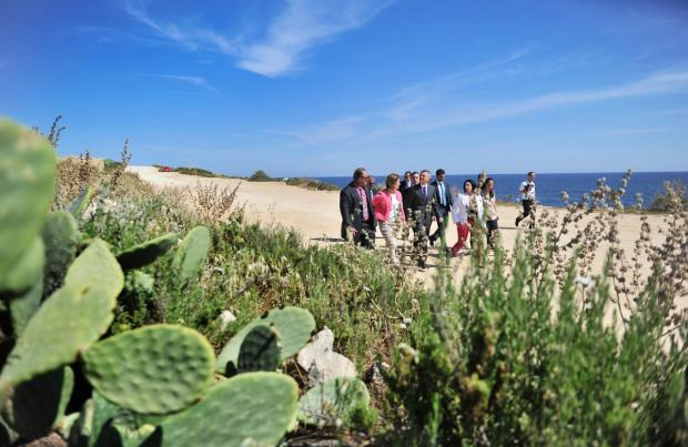 Opposition leader Simon Busuttil, shadow ministers, Nationalist MPs and councillors visit the pristine ODZ land earmarked for a new university prior to a news conference near Zonqor Point in Marsascala on May 13. Photo: Jason Borg