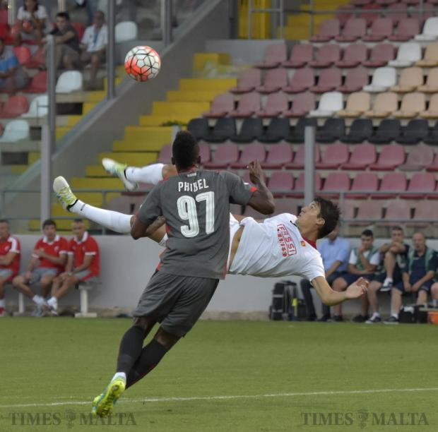 Valletta's Federico Falcone attempts to shoot on goal with an overhead kick during a Champions League qualifier against Crevena Zvevda (Red Star Belgrade) at Hibernians Stadium in Corradino on July 12. Photo: Mark Zammit Cordina