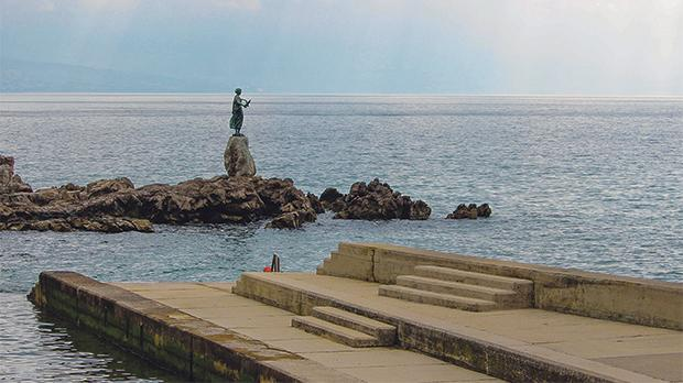 The Maiden and Seagull statue, symbol of Opatija.