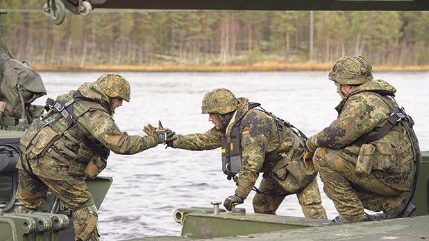 German soldiers from 2 Company Multinational Engineer Battalion of Nato's Very High Readiness Joint Task Force.