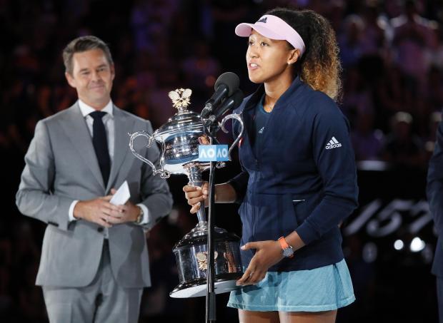 Japanese player Naomi Osaka addressing the crowd after winning the Australian Open.