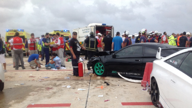The carnage, including injured people and damage caused to cars parked for the static show.