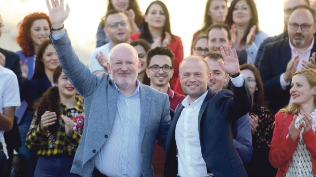 Socialist European Commission presidential candidate Frans Timmermans with Prime Minister Joseph Muscat on May 1. Photo: Jonathan Borg