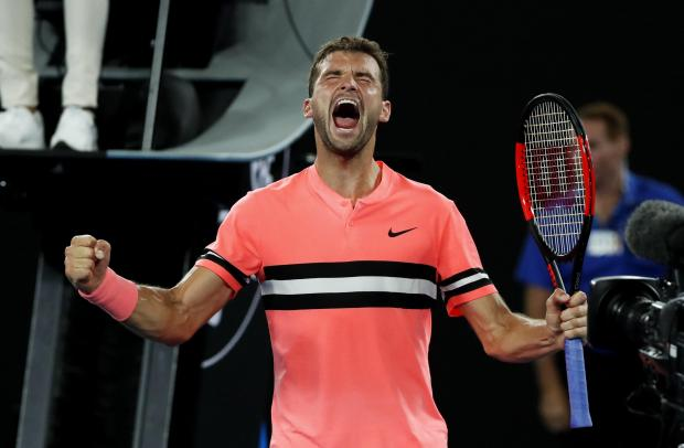 Grigor Dimitrov celebrates his victory in Melbourne on Wednesday.
