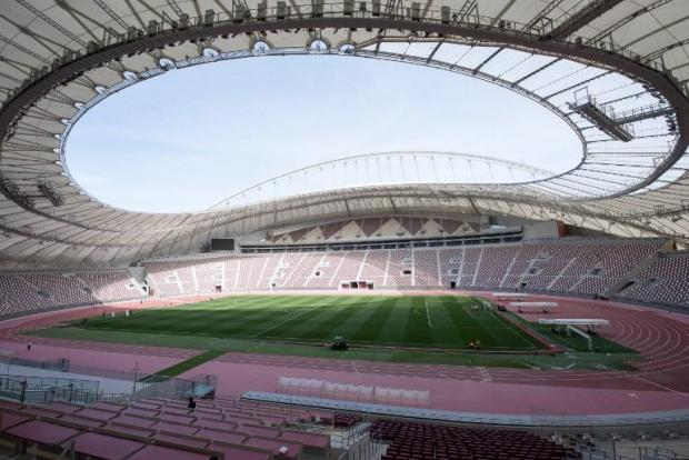 The Khalifa International Stadium in the Qatari desert city of Doha.