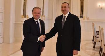 Joseph Muscat with Azeri president Aliyev in 2014.