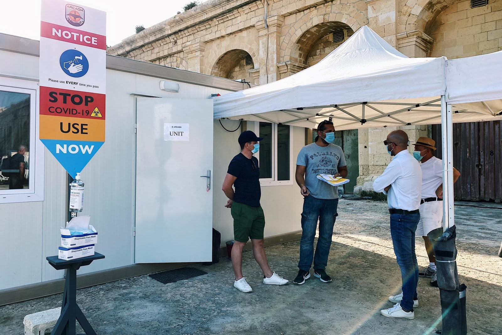 The Film Commission visit a testing site on set in Malta.