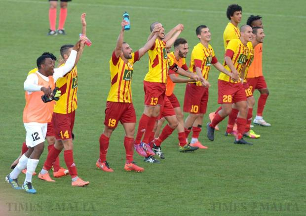 Birkirkara players celebrate after beating Bosnia's NK Siroki Brijeg during their Europa League second leg match at the Hibernians Stadium in Corradino on July 5. Photo: Matthew Mirabelli
