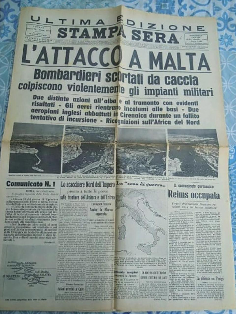 The front page of the June 11, 1940 edition of the Italian newspaper Stampa Sera with the headline 'L'Attacco a Malta' (The attack on Malta). Photo: Facebook.com