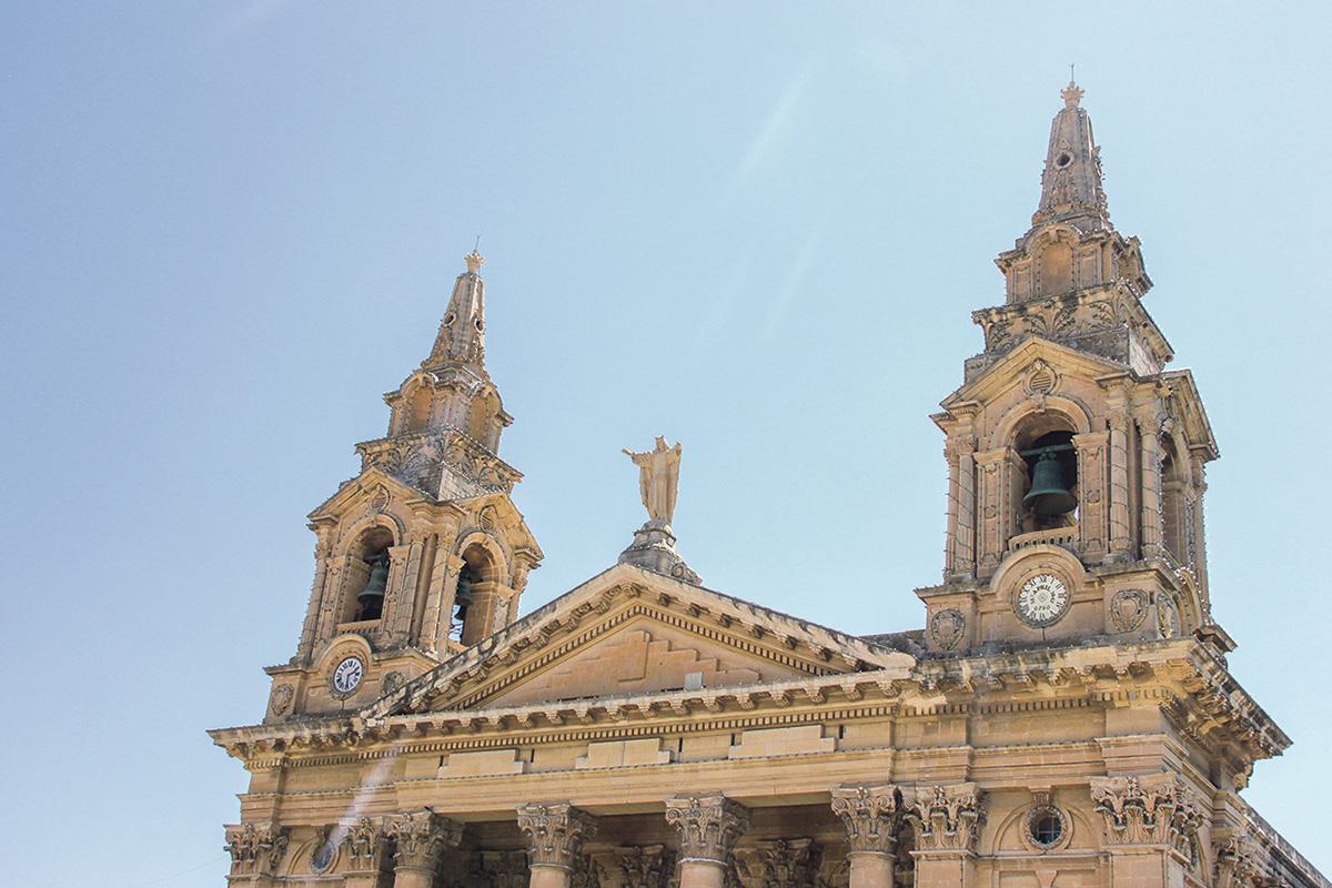 St Publius parish church's bell towers.