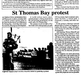 How the Times of Malta reported a protest organised by Alternattiva Demokratika at St Thomas Bay in 1996 against a proposed hotel development at Munxar.