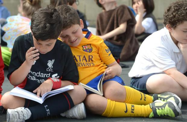 Schoolchildren and teachers from San Andrea School in Mġarr wear costumes to resemble their favourite literary characters for an event to mark World Book Day on April 22. Photo: Matthew Mirabelli