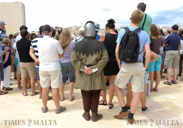 People gather to view re-enactments during an open day at Fort St Angelo in Vittoriosa on September 8. Photo: Matthew Mirabelli
