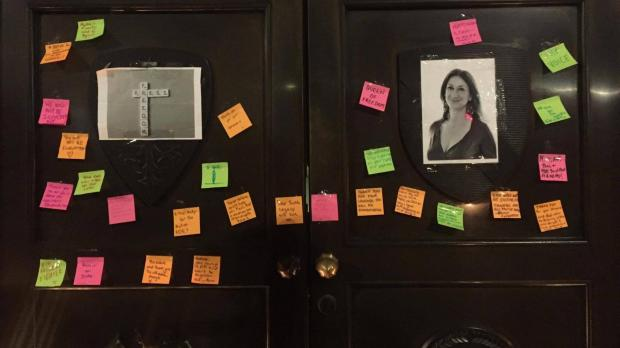Messages addressed to Ms Caruana Galizia were stuck to the High Commission door in London.