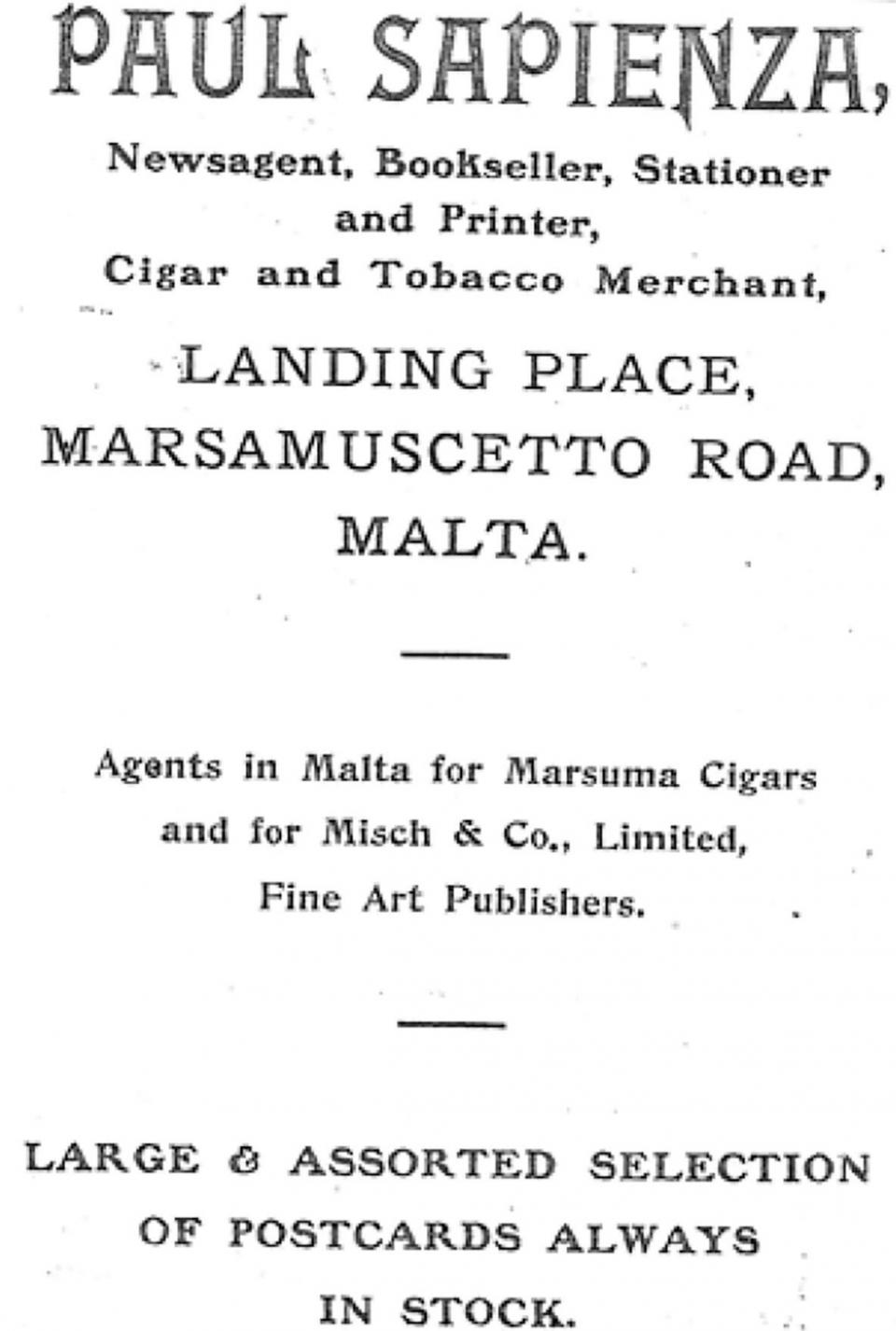 Advert by Paul Sapienza.