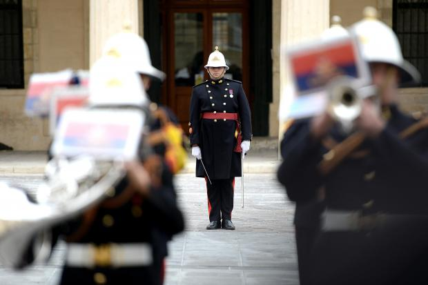 The changing of the guard takes place against a musical background as the Armed Forces of Malta band march in St George's Square, Valletta on January 26. Photo: Matthew Mirabelli