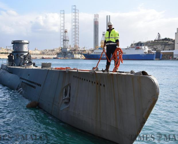 The 233-tonne 65-meter submarine named Scorpion arrives back in Malta from France to continue production on a German TV series 'Das boot' at Valletta Waterfront. Photo: Mark Zammit Cordina