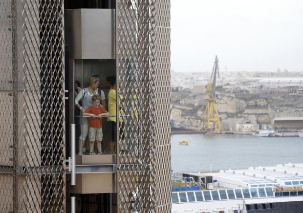Visitors ride the Barrakka Lift down to Valletta's Grand Harbour on October 21. Photo: Darrin Zammit Lupi
