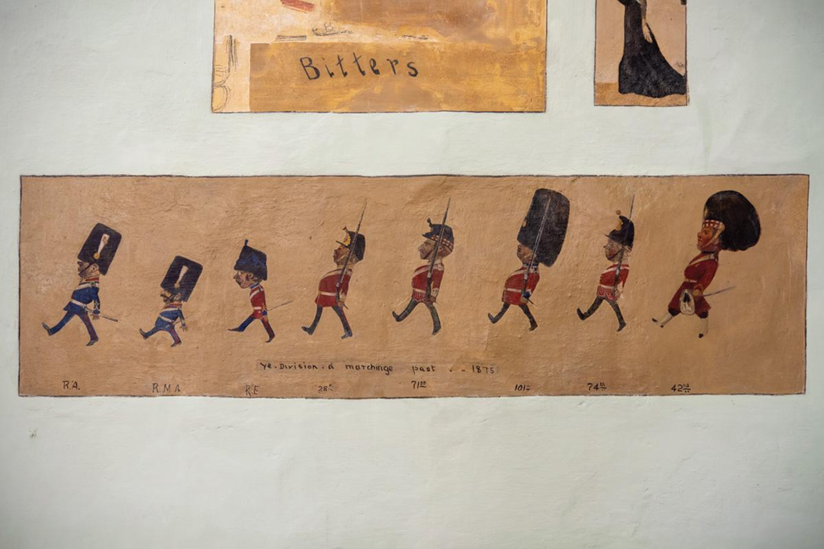 One of the marching soldiers scenes captured on the Main Guard walls.