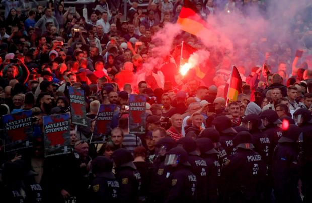 Right-wingers protest in Chemnitz, Germany, August 27, after a German man was stabbed. File photo: Reuters